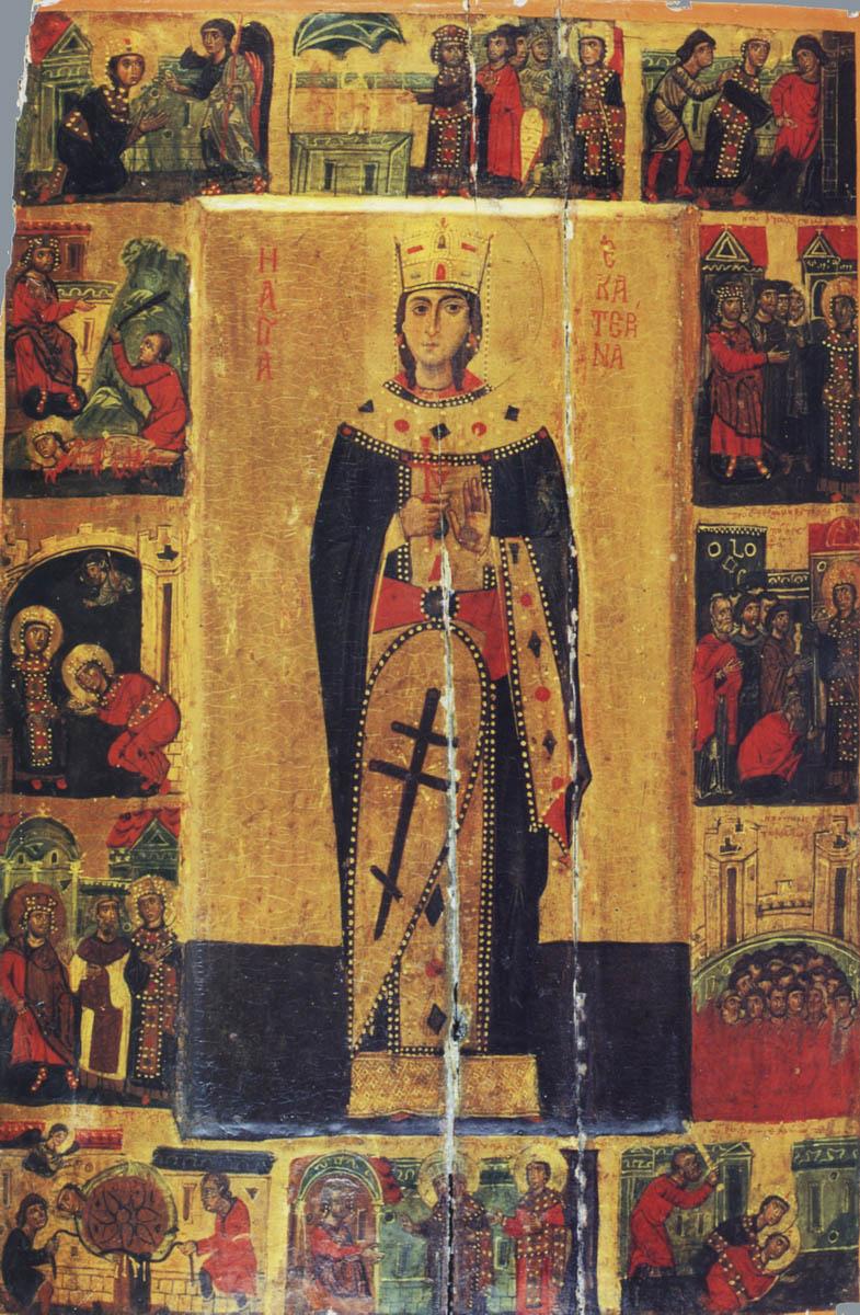 Великомученица Екатерина. Икона, XIII век. Монастырь святой Екатерины на Синае (Египет)