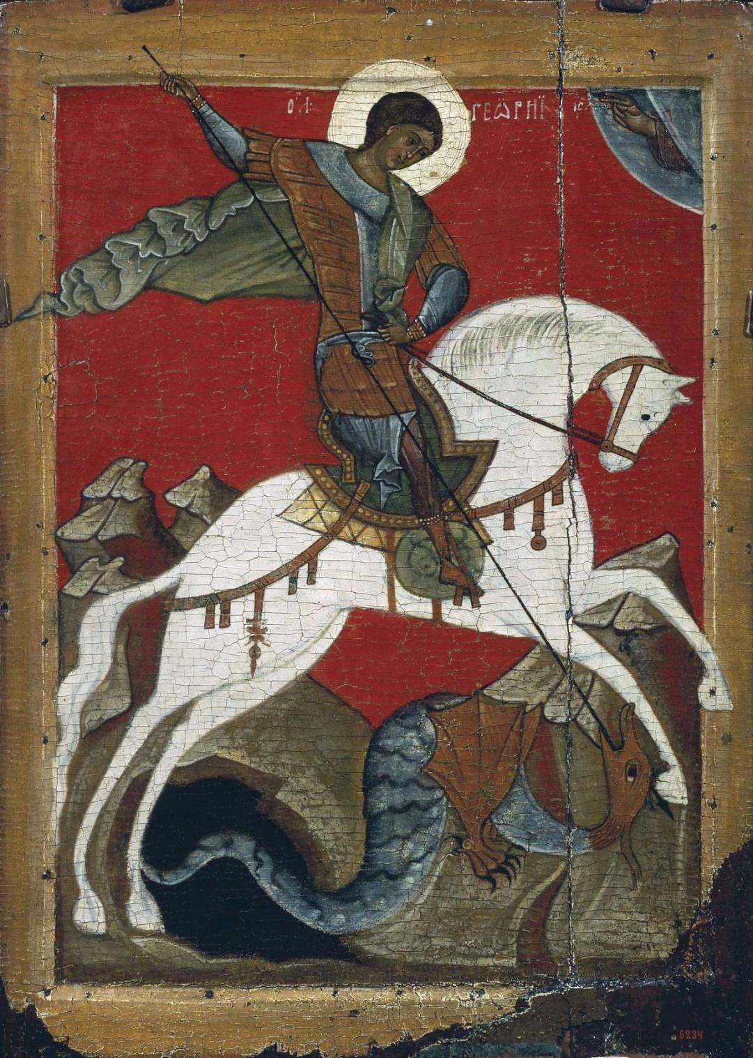 Великомученик Георгий Победоносец. Икона, конец XIV - начало XV века. Новгород