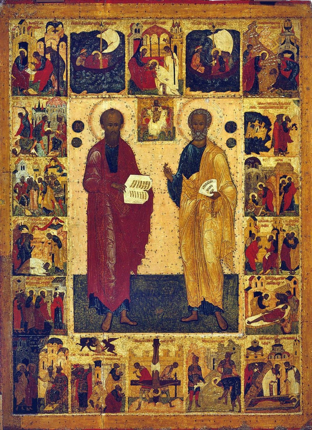 Икона апостолов Петра и Павла с клеммами. Великий Новгород, XVI век.