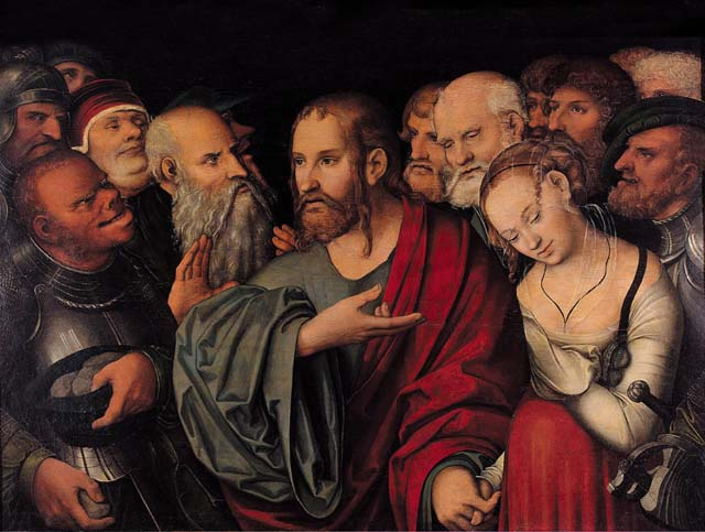 Христос и блудница. Лукас Младший Кранах