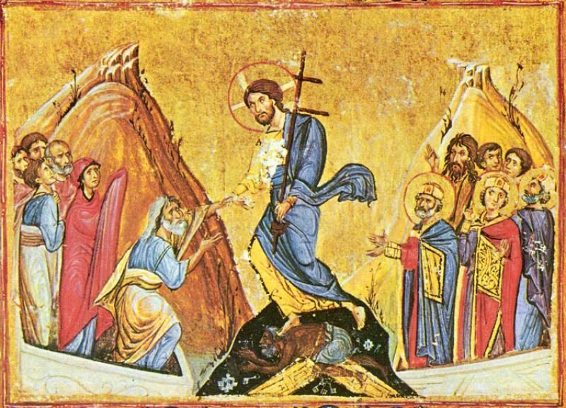 Сошествие Христа во ад. Византийская миниатюра