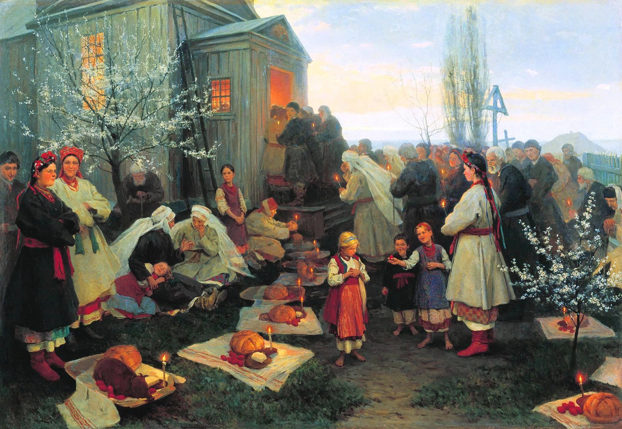 Пасхальная заутреня в Малороссии. Николай Пимоненко, 1891
