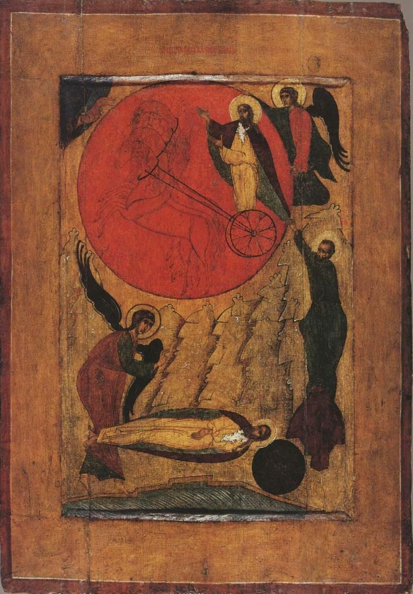 Пророк Илья возносится на огненной колеснице. Икона, конец XV - начало XVI века. Карелия