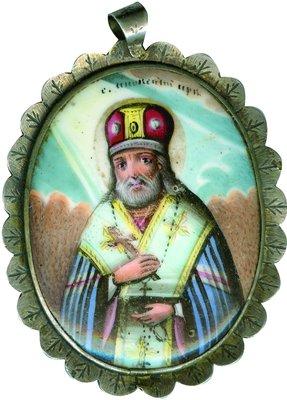 Святитель Иннокентий Кульчицкий, епископ Иркутский. Эмалевая нагрудная иконка, 2-я половина XIX века
