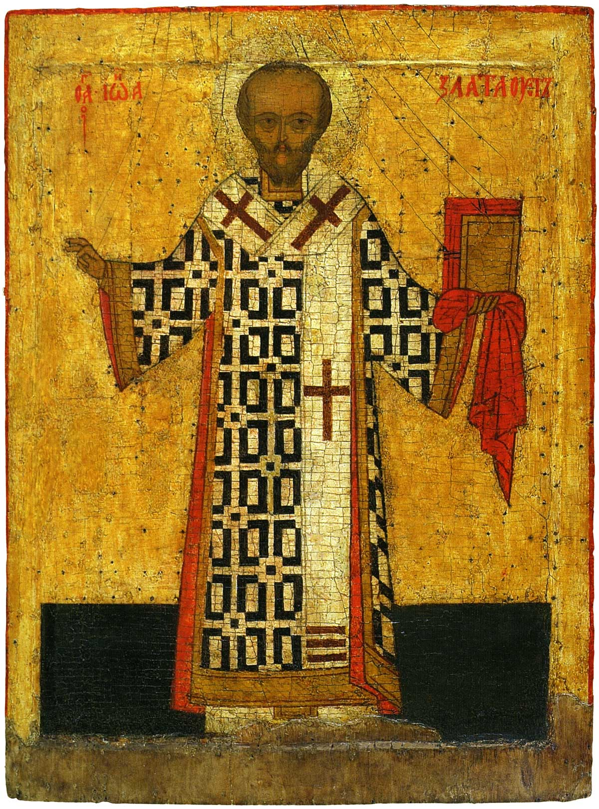 Святитель Иоанн Златоуст. Икона, первая половина XVI века. Ярославль