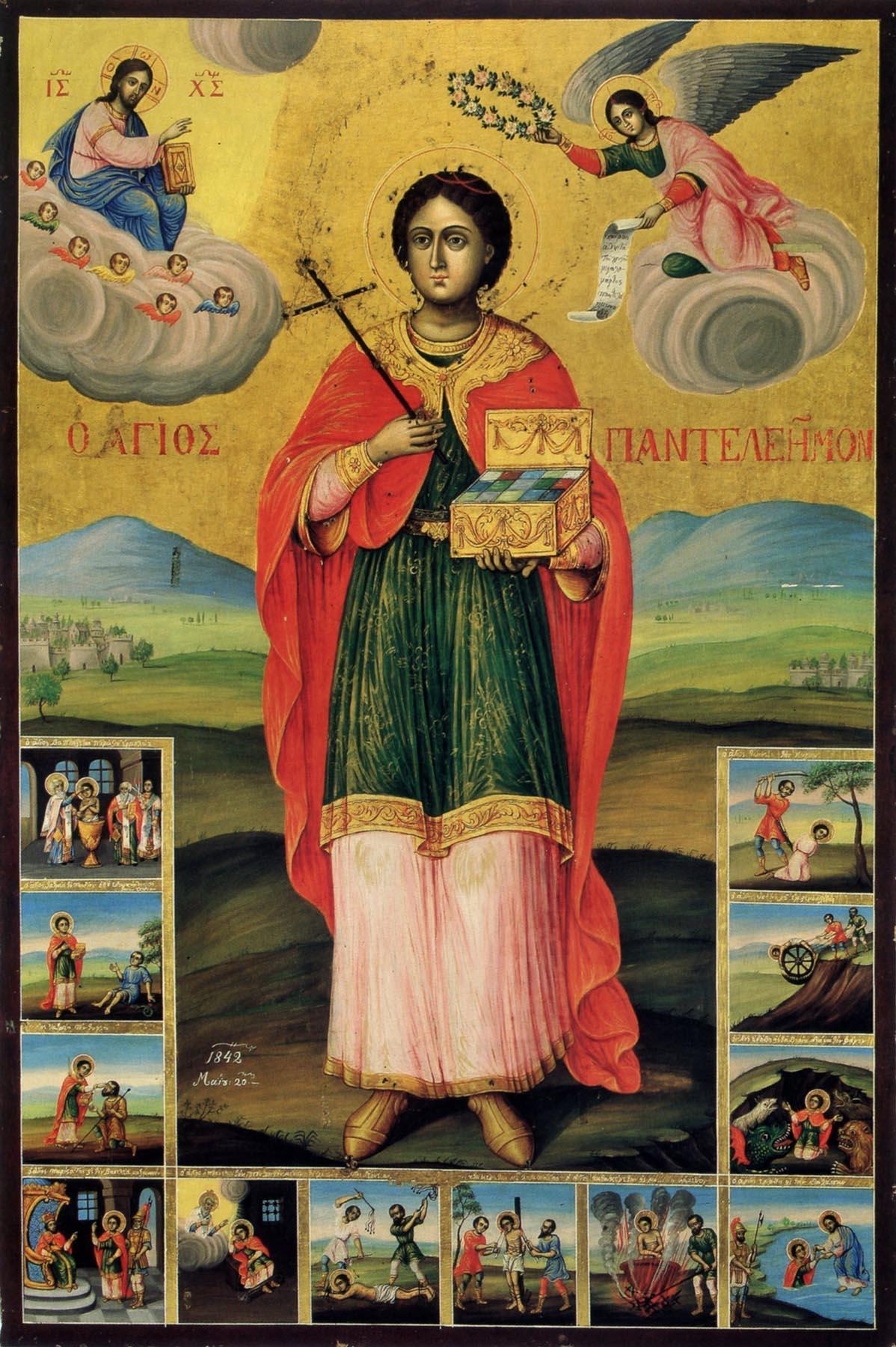Великомученик Пантелеимон. Икона с житием, 1842 года. Болгария. Иконописец - Николай Сотириади из Константинополя