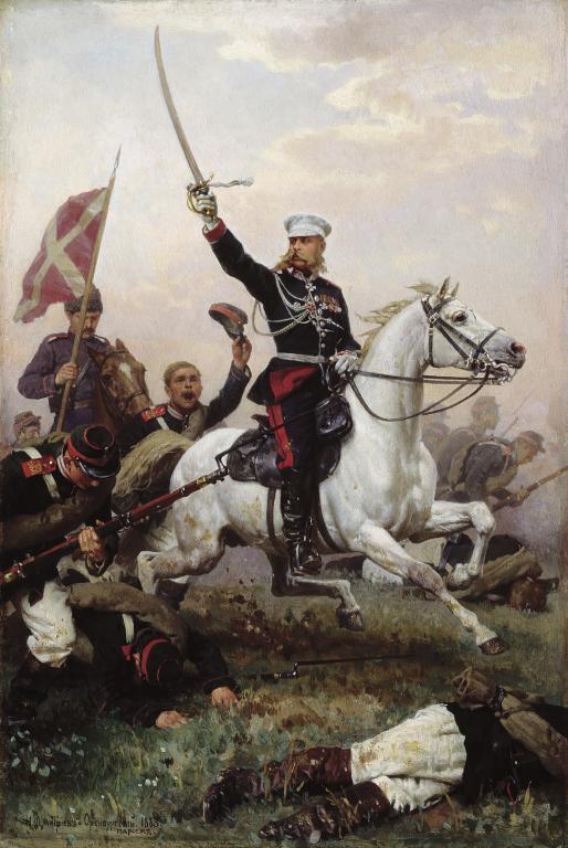 Генерал Михаил Скобелев на белой лошади во время Русско-турецкой войне (1877 – 1878). Художник Николай Дмитриев-Оренбурский (1883)