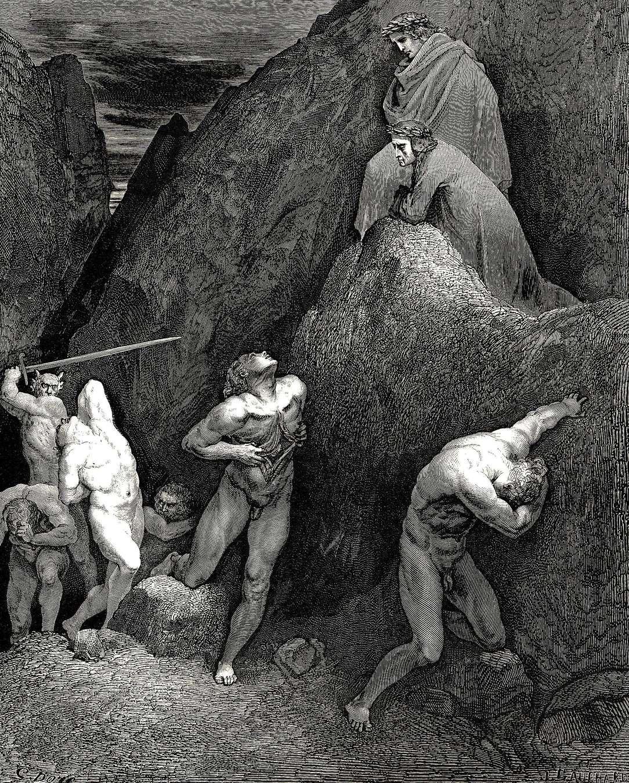 Данте и Вергилий взирают на мучения Мухаммеда в девятом кругу Ада. Гравюра. Гюстав Доре.