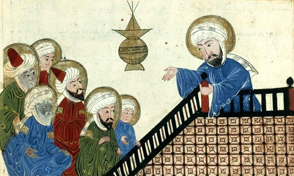 Мухаммед проповедует. Средневековая арабская миниатюра
