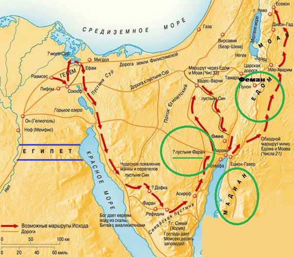 Местоположение Фарана, Медиана и Едома