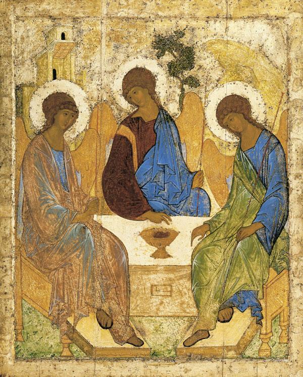Святая Троица. Икона, XV век. Иконописец Андрей Рублев